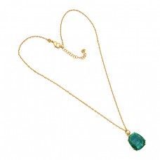 Oval Shape Emerald Gemstone 925 Sterling Silver Gold Plated Necklace Jewelry