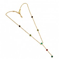 925 Sterling Silver Round Shape Multi Color Gemstone Gold Plated Necklace Jewelry