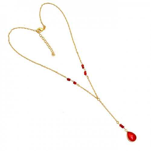 Red Onyx Gemstone 925 Sterling Silver Gold Plated Designer Beaded Necklace