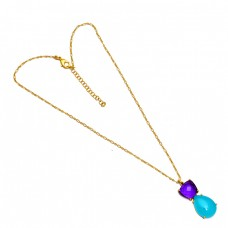 Amethyst Chalcedony Gemstone 925 Sterling Silver Gold Plated Necklace Jewelry