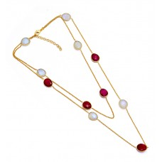 Oval Shape Ruby Moonstone 925 Sterling Silver Gold Plated Designer Necklace