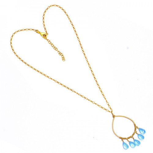 Pear Shape Blue Topaz Gemstone 925 Sterling Silver Gold Plated Necklace Jewelry