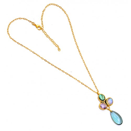 Oval Pear Shape Gemstone 925 Sterling Silver Gold Plated Designer Necklace