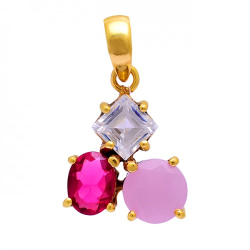 Round Oval Square Shape Gemstone 925 Silver Gold Plated Pendant Necklace