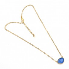 Raw Material Chalcedony Rough Gemstone 925 Sterling Silver Gold Plated Necklace
