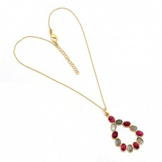 Oval Shape Labradorite Ruby Gemstone 925 Sterling Silver Gold Plated Necklace