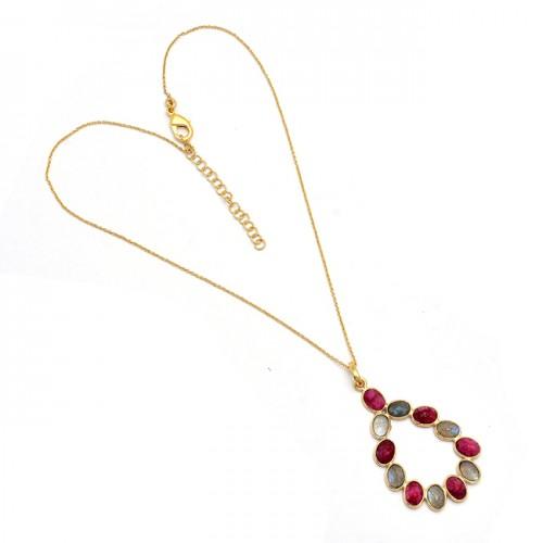 Oval Shape Labradorite Ruby Gemstone 925 Sterling Silver Gold Plated Necklace