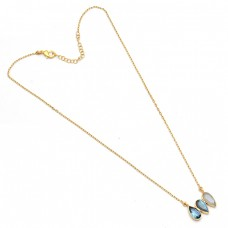 Pear Shape Topaz Labradorite Moonstone 925 Silver Gold Plated Designer Necklace