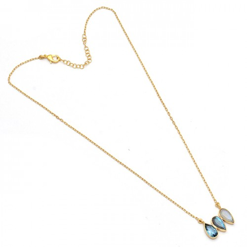 Pear Shape Topaz Labradorite Moonstone 925 Silver Gold Plated Designer Necklace