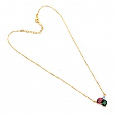 Ruby Emerald Topaz Gemstone 925 Sterling Silver Gold Plated Necklace Jewelry