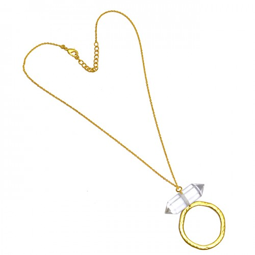 Handmade Pencil Shape Crystal Quartz Gemstone 925 Sterling Silver Gold Plated Necklace Jewelry