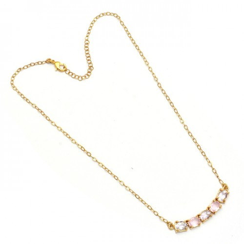 Oval Shape Amethyst Pink Quartz Gemstone 925 Silver Gold Plated Necklace