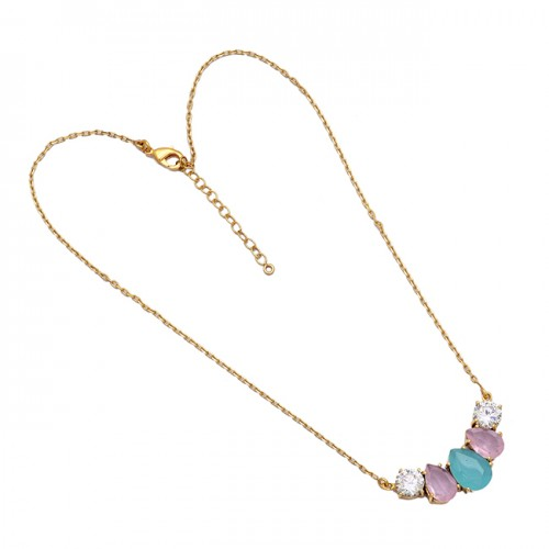 Aqua Rose Color Chalcedony Cz Gemstone 925 Silver Gold Plated Necklace Jewelry