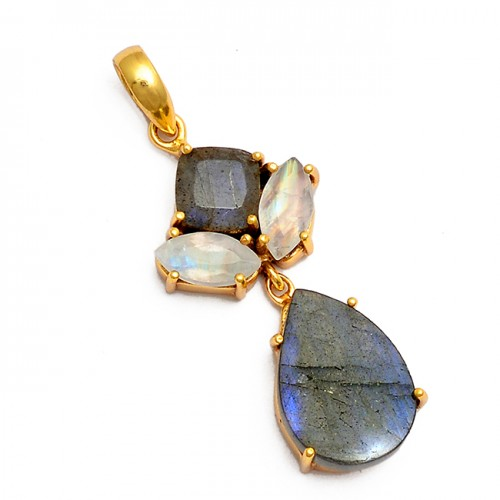 Labradorite Moonstone 925 Sterling Silver Gold Plated Pendant Necklace