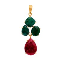 925 Sterling Silver Ruby Emerald Gemstone Gold Plated Pendant Necklace Jewelry