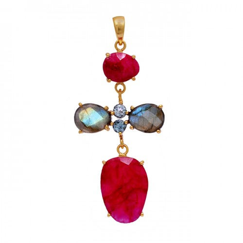 Ruby Labradorite Topaz Gemstone 925 Sterling Silver Gold Plated Pendant Necklace