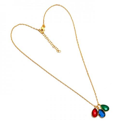 Pear Shape Ruby Onyx Tanzanite Quartz Gemstone 925 Silver Necklace Jewelry