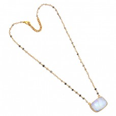 Moonstone Black Rutile Quartz Gemstone 925 Silver Gold Plated Necklace Jewelry