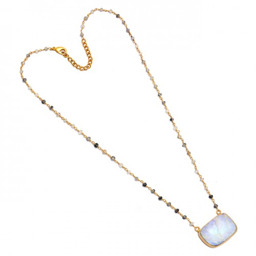 Moonstone Black Rutile Quartz Gemstone 925 Silver Gold Plated Necklace Jewelry