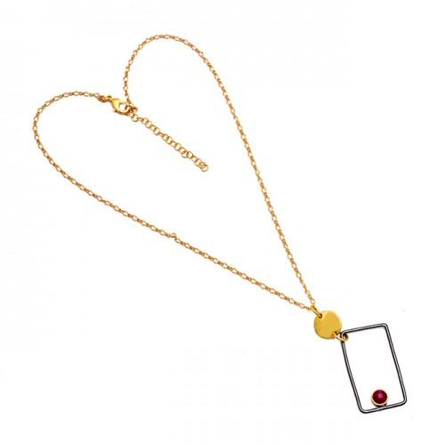 Round Shape Ruby Gemstone 925 Sterling Silver Gold Plated Designer Necklace