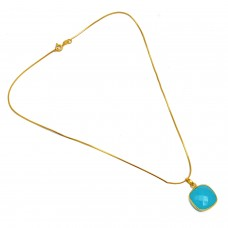 Cushion Shape Aqua Chalcedony Gemstone 925 Sterling Silver Gold Plated Necklace Jewelry