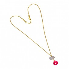 Handcrafted Ruby Herkimer Diamond Gemstone 925 Sterling Silver Gold Plated Necklace Jewelry