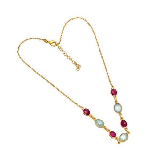 Ruby Aquamarine Gemstone 925 Sterling Silver Gold Plated Designer Necklace