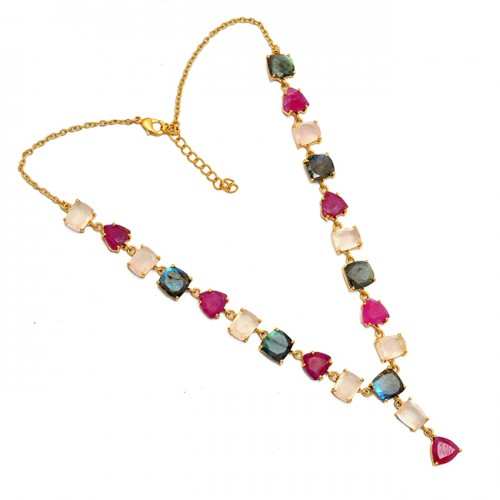 Rose Quartz Ruby Labradorite Gemstone 925 Sterling Silver Gold Plated Necklace