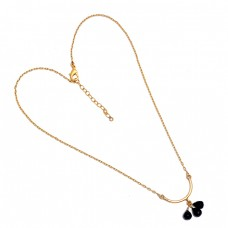 Pear Drops Shape Black Onyx Gemstone 925 Sterling Silver Gold Plated Necklace