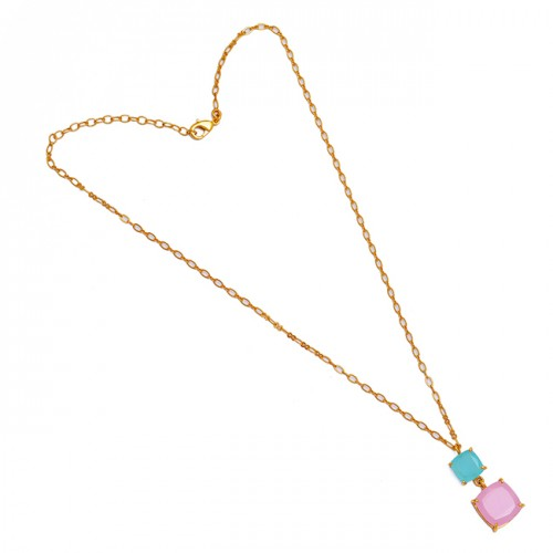 Square Shape Chalcedony Gemstone 925 Sterling Silver Gold Plated Necklace