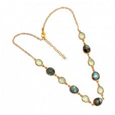 Oval Shape Labradorite Chalcedony Gemstone 925 Sterling Silver Necklace