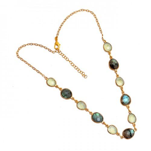 Oval Shape Labradorite Chalcedony Gemstone 925 Sterling Silver Necklace