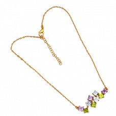 Square Shape Amethyst Topaz Peridot Gemstone 925 Silver Gold Plated Necklace