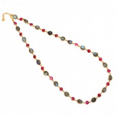 Ruby Labradorite Gemstone 925 Sterling Silver Gold Plated Necklace Jewelry