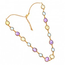 Oval Shape Lemon Topaz Amethyst Gemstone 925 Silver Gold Plated Necklace