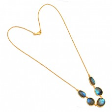Oval Shape Labradorite Gemstone 925 Sterling Silver Gold Plated Designer Necklace