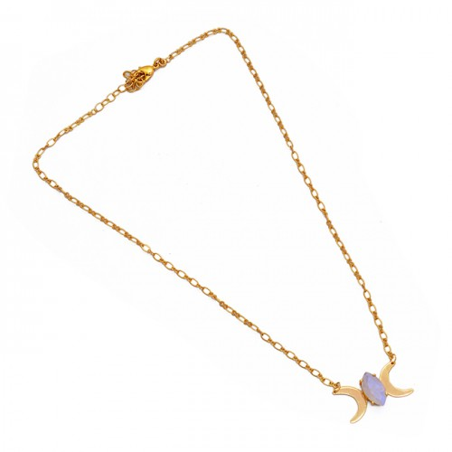 Marquise Shape Rainbow Moonstone 925 Sterling Silver Gold Plated Necklace