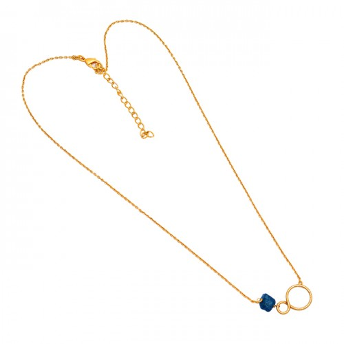 Raw Material Apatite Rough Gemstone 925 Sterling Silver Gold Plated Necklace