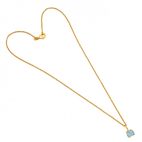 925 Sterling Silver Raw Material Aquamarine Rough Gemstone Gold Plated Necklace