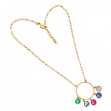 925 Sterling Silver Multi Color Gemstone Gold Plated Designer Necklace Jewelry