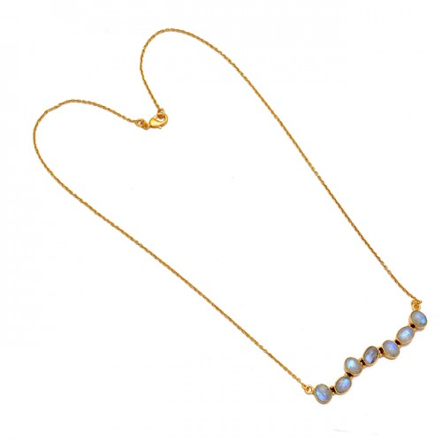 Oval Shape Rainbow Moonstone 925 Sterling Silver Gold Plated Necklace