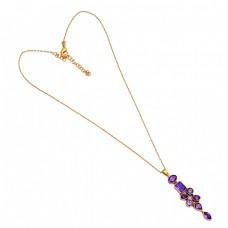925 Sterling Silver Amethyst Gemstone Gold Plated Designer Necklace