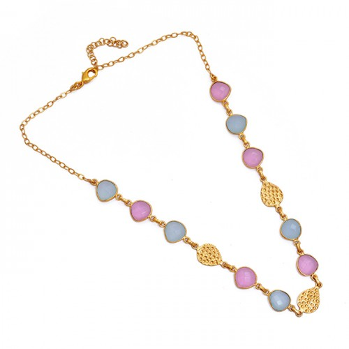 Heart Shape Chalcedony Gemstone 925 Sterling Silver Gold Plated Necklace