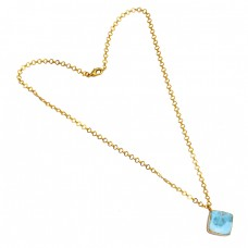 Cabochon Larimar Gemstone 925 Sterling Silver Gold Plated Necklace Jewelry