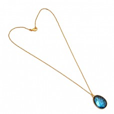 925 Sterling Silver Oval Shape Labradorite Gemstone Gold Plated Necklace