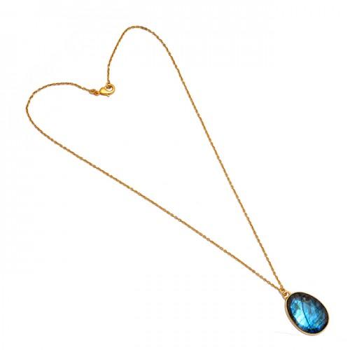 925 Sterling Silver Oval Shape Labradorite Gemstone Gold Plated Necklace