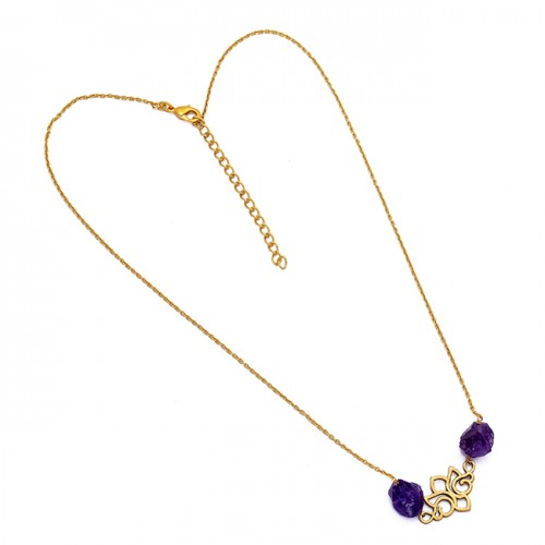 925 Sterling Silver Amethyst Rough Gemstone Gold Plated Necklace