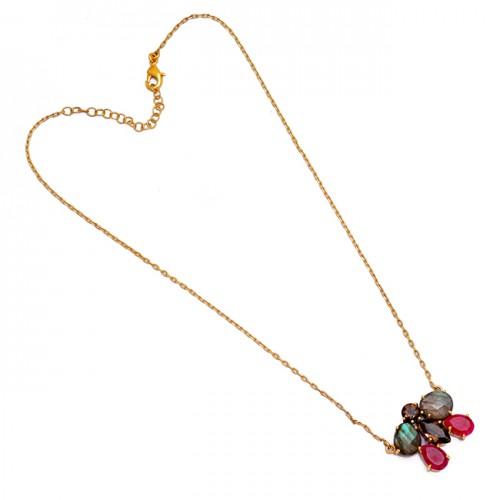 925 Sterling Silver Labradorite Ruby Smoky Quartz Gemstone Necklace