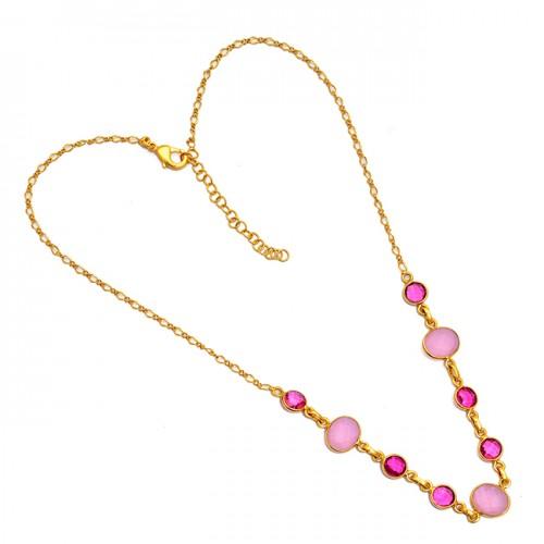 Round Oval Shape Chalcedony Quartz Gemstone Gold Plated Necklace