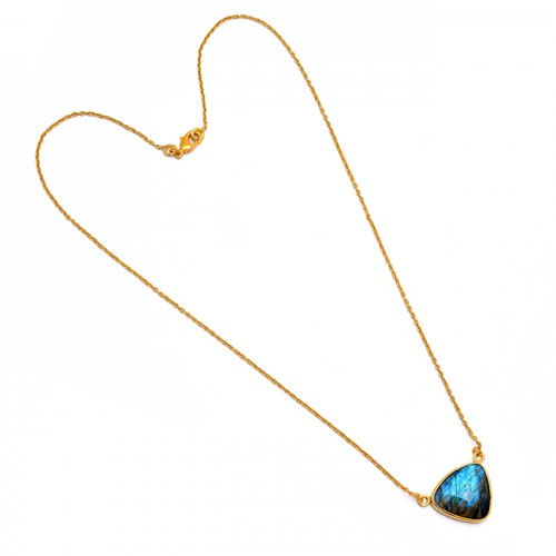 Triangle Shape Labradorite Gemstone 925 Sterling Silver Gold Plated Necklace
